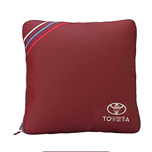 XQRYUB Edredón de Almohada para Coche, edredón de Aire Acondicionado de Doble Uso, Almohada para la Espalda Lumbar, Accesorios Interiores del Coche, Apto para Toyota
