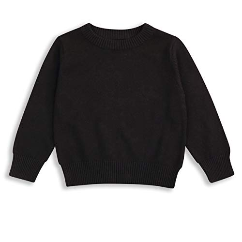 Baby Boys Girl Organic Cotton Sweater Tops Kids Fall Winter Knit Sweater Solid Color Outfit 15T Black 1824 Months