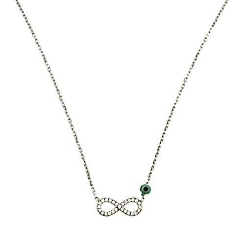 Kurshuni Halskette Infinity klein Silber Zirkonia