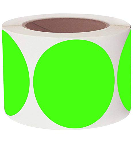 """Bright Green Stickers Target Dots 3"""" Round Color Coding Dot Labels Target Repair Pasters Stickers Permanent Adhesive, Writable Surface - 250 Colored Circle Inventory Stickers Per Roll"""