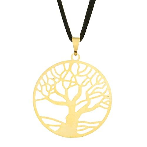 Colar Árvore da Vida com Aro 30mm - Sunshine Cristais Cor:Ouro