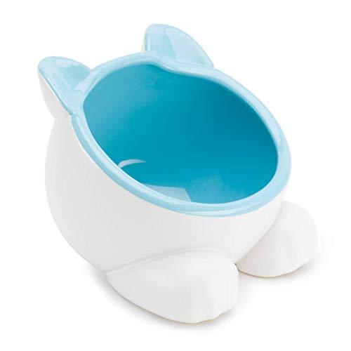 ViviPet Raised Ceramic Cat Water Food Big Head Bowl Dish, Tilt Angle Protect Cat's Spine, Stress for Cat (Blue)