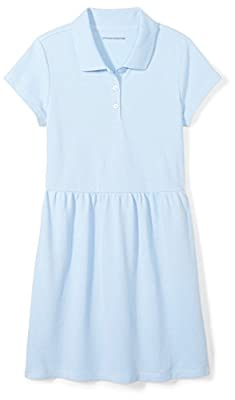 Amazon Essentials Girl's Short-Sleeve Polo Dress, Light Blue, L (10)