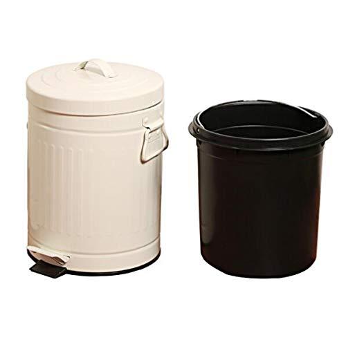 Cubo de basura con pedal – Cubo con pedal y tapa – Cubo de basura para cocina, cubo de basura, baño, oficina de metal resistente – Cubo interior de plástico resistente A / 3L