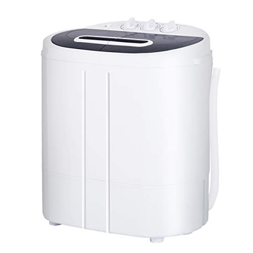 """AODAILIHB Portable Mini Compact Twin Tub Washing Machine, 10lbs Capacity, Washer(6.6lbs)&Spiner(3.3lbs),Semi-Automatic Washer, for Apartment, Dorm, RV, Camping (White, 19.6""""L×13.7"""" D×19.6"""" H)"""