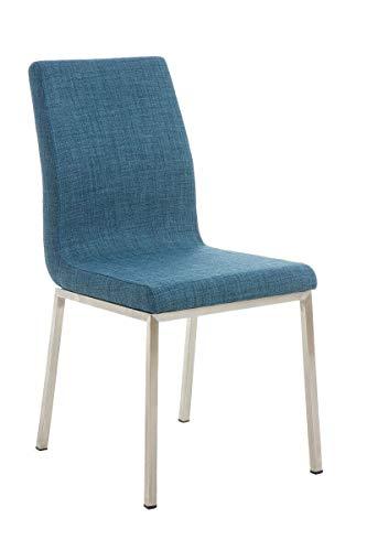 ADHW Esszimmerstuhl Stoff Lehnstuhl Polsterstuhl Küchenstuhl Edelstahl Stuhl (Color : Blau)
