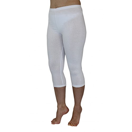 Blickdichte Leggings für Damen Capri Hose Leggins Bunt aus Baumwolle 3/4 Länge, Farbe: Weiß, Größe: 44-46