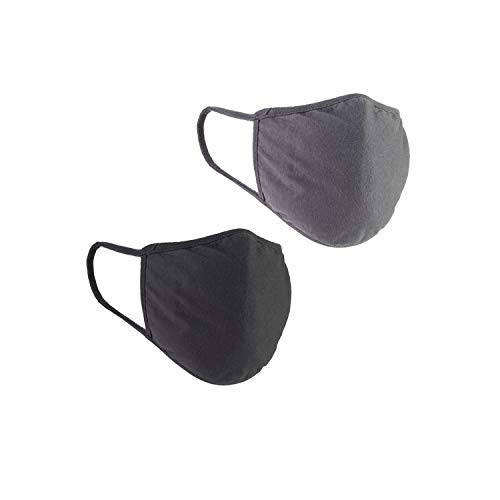 Colosseum General Purpose Jersey Cotton Reusable Face Mask with Interior Filter (Black/Charcoal) (Pack of 2)