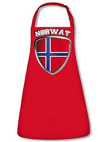 Golebros Norwegen Norway Norge Fan Artikel 4704 Fuss Ball Trikot Look WM 2022 Football Jersey Team World Cup Unisex Koch Latz Küchen Grill Schürze Rot