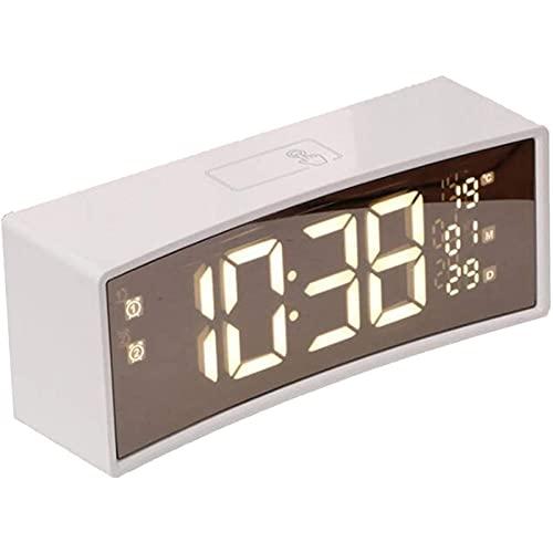 HCCTOZZ Reloj Despertador Digital con Pantalla LED Electrónica de Tiempo, 3 Configuraciones de Reloj Despertador, Calendario, Sensor de Temperatura, Reloj de Cabecera del Dormitorio(Color:White)