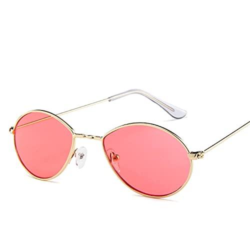 Secuos Moda Gafas De Sol Pequeñas Ovaladas para Mujer, Gafas Rojas Retro, Gafas Vintage, Montura De Metal Dorado, Puntos De Espejo, Gafas De Sol Redondas Vintage para Mujer, Rosa