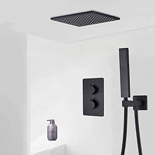 ZCYXQR Sistema de Ducha Matte Black 16 Juego de grifos de Ducha Tipo Lluvia Válvula mezcladora termostática para Ducha con Caja empotrada Latón para baño (Ducha para el hogar)