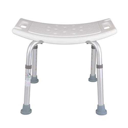HYY-YY Taburete de ducha para discapacitados, silla de asiento curva, ajustable en 6 alturas, para ancianos, discapacitados/mujeres embarazadas, con asa, banco de baño en color blanco pesado