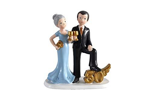 DISOK - Figura Pastel 50 Aniversario Copas - Figuras Aniversarios Bodas de Oro Originales