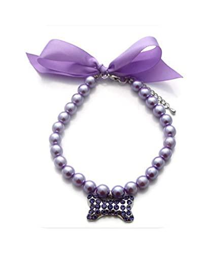 Collar para perro, diseño de gato, perla, para boda, estrás, colgante de cadena para perros, cosplay joyas para mujer -P21A003Z-M