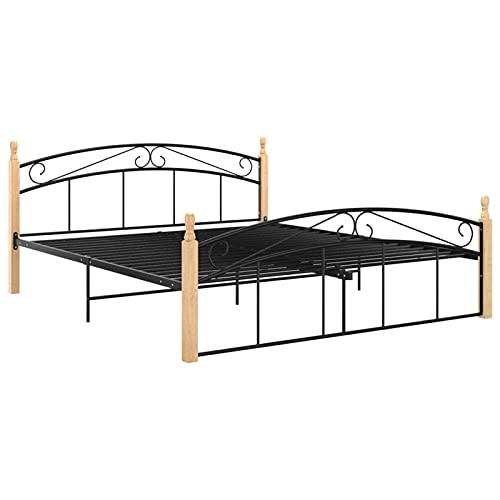 Susany Estructura de Cama Madera Maciza de Roble Metal Negro 180x200 cm 4# Marco de la Cama Bases para Camas