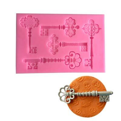 Fablcrew. 5 cavidades molde de silicona en forma de llave para tarta,...
