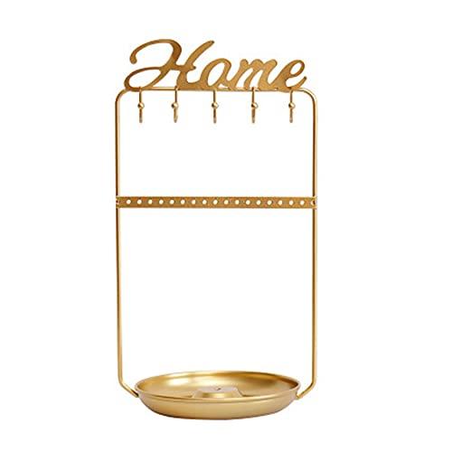 Wilany Soporte de joyería dorado para joyas, organizador de escritorio con bandeja para colgar joyas, organizador de almacenamiento para pendientes, collares, anillos, horquillas