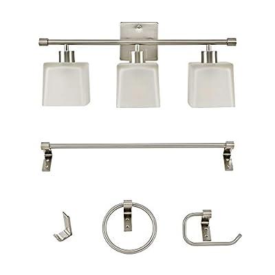Addington Park 60001 Marone 5-Piece All-in-One Bath Set, Contemporary, Brushed Nickel