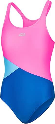 Aqua Speed Pola Badeanzug Mädchen   Einteiler   104-158   UV-Schutz   Blickdicht   Chlorresistent   Anti-Pilling   Schwimmanzug Blue - Pink - Light Blue - 32 Gr. 134