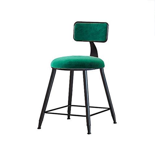 Assis sur un 45cm haut cadre noir en métal haute Tabouret vin avec une éponge Dossier, Convient chambre/magasin Chaises de bar (Color : Green)