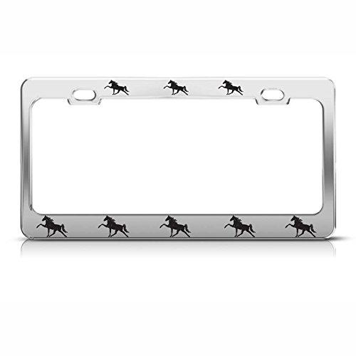 Maan WEST Paarden Chrome Heavy Duty Steel License Plaat Frame Tag Houder Stijl 3 Perfect voor Mannen Vrouwen Auto garadge Decor