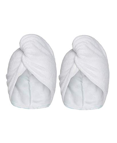 Turbie Twist Microfiber Hair Towel Wrap for Women and Men   2 Pack   Bathroom Essential Accessories   Quick Dry Hair Turban for Drying Curly, Long & Thick Hair (White, White)