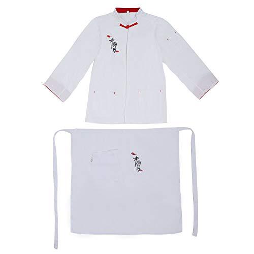 QiruIXinXi Lot de 2 uniformes de chef vintage, durables et longue durée de vie, design étanche et résistant à l'huile, convient pour les restaurants, les cuisines, les barbecues, etc. (XL - Blanc)