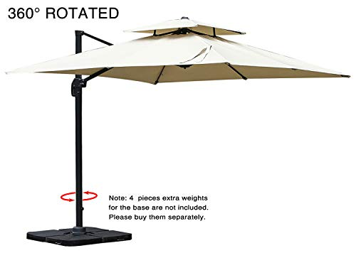 Mefo garden 10 by 10-Feet Offset Cantilever Umbrella, 360° Rotated Outdoor Patio Umbrella with Dual Vented Canopy for Garden, Backyard with Cross Base, 250gsm Square Canopy, Beige