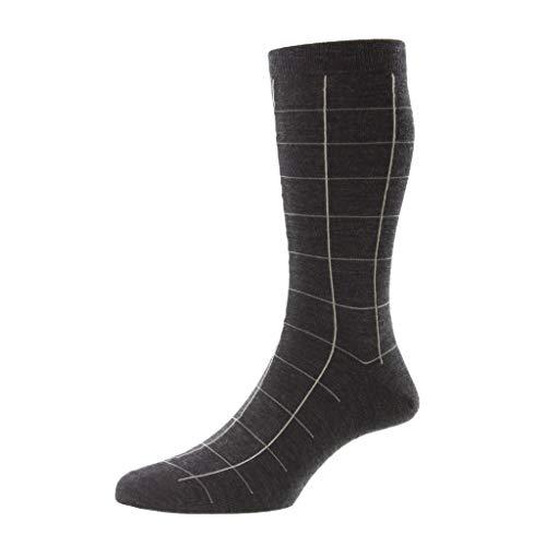 Pantherella Westleigh Herren-Socken aus Wolle, mittelhoch, anthrazit, Large
