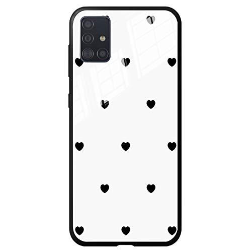 FundX Hülle für Samsung Galaxy A51- Herzchen Liebe Schwarz Herz Schutzhülle Mädchen Damen- Handyhülle Phone Hülle Love