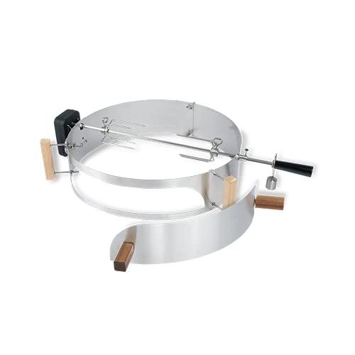 Moesta-BBQ 10093 Rotisserie-Set mit Smokin' PizzaRing – Drehspieß mit kabellosem Batterie-Motor...