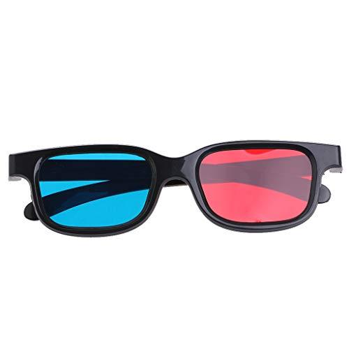 2 gafas 3D universales negras con lente de 0,2 mm de grosor, rojas y azules, aptas para Anaglifos 3D películas Gaming Juegos Familia