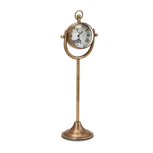 Loberon Uhr Salins, Messing, Glas, H/B/T ca. 25/8 / 6,5 cm, antiksilber