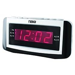 Naxa PLL Digital Alarm Clock with AM/FM Radio Snooze & Large LED Display