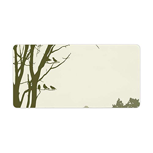 Extended Gaming Mouse Pad with Stitched Edges Waterproof Large Keyboard Mat Non-Slip Rubber Base Nature The Panorama of A Forest Birds on Tree Branches Desk Pad for Gamer Office Home 12x24 Inch