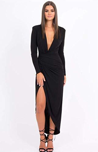 HJX620 Frau Kleid ungewöhnlich tief V Falten langärmelige Kleid sexy Kleider