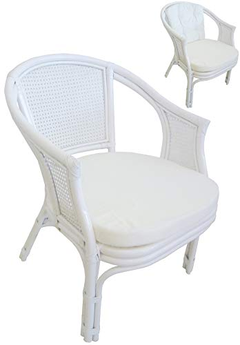 SF SAVINO FILIPPO Wicker Chair Bamboo Rattan Vienna Rattan White with Cushions for Home Bedroom Living Room Bar Bamboo White