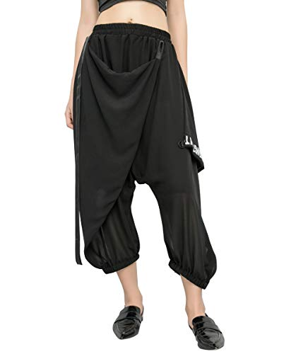 ellazhu GY1805 A - Pantaloni da Donna a Vita Alta Nero Taglia Unica