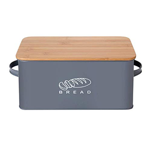 "HOSEN Metal Bread Box With Bamboo Lid And Kitchen Counter Storage Bins for Fresh Loaves,12""x7""x5' (Grey)"