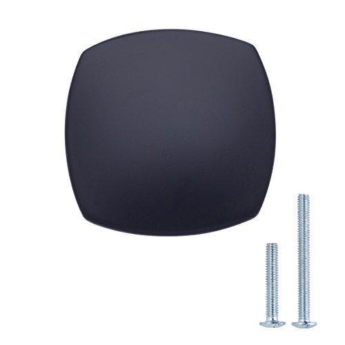 AmazonBasics - Pomo de armario redondo y cuadrado, 3,2 cm de diámetro, Negro liso, Paquete de 10