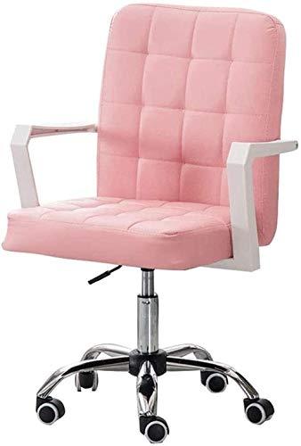 Sillas de Oficina Muebles de Silla Muebles Faux Cuero Inicio Oficina Escritorio Computadora Taburete Giratorio sobre Ruedas Altura Ajustable (Color : Pink)