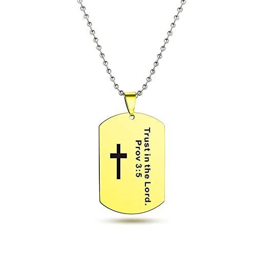 Collar de la Biblia de la Cruz Cristiana de la Moda de Acero Inoxidable Tallado de la Biblia Salmo Colgante Collar Para Mujer