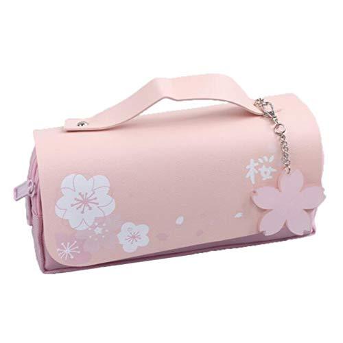 LPOQW Pencil Case Sakura Pencil Bag Einfache süße Kawaii Pencil Bag Tasche mit doppelten Reißverschlüssen Studenten Organizer Supplies Geschenk,Rosa