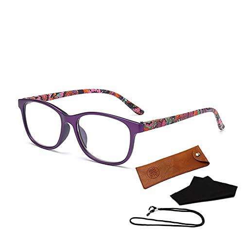 siqiwl Gafas de lectura, Anti Luz Azul Gafas de Lectura Mujeres Moda Azul LIght Bloqueo Presbicia Gafas para Ordenador (Color: +150, Tamaño: Púrpura)