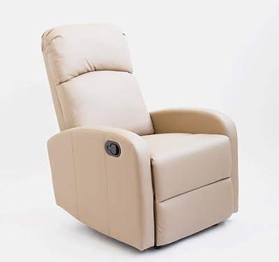 Astan Hogar Confort Sillón Relax con Reclinación Manual, Tapizado en PU Anti-Cuarteo. Modelo Premium AH-AR30600TP, Topo, Compacto