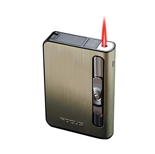 FOCUS Spender Box Gehäuse Etui 10 Filterzigaretten Windgeprüft, Schwarz ( Serie A Gold )