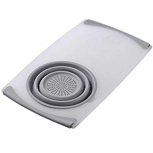 Cycmyw Kitchen Cutting Board-with Foldable Drain Basin-BPA-free, Dishwasher Safe, Use In The Kitchen (Color : Off-white)