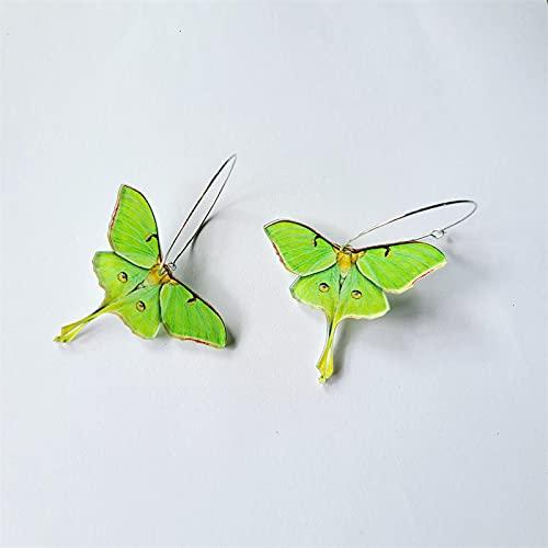 YANXIA Pendientes Elegantes y Bonitos de Acrílico con Mariposa Verde, Pendientes de Decoración de Fiesta para Mujer de la Vendimia, Pendientes de Clip para Niñas para Niños