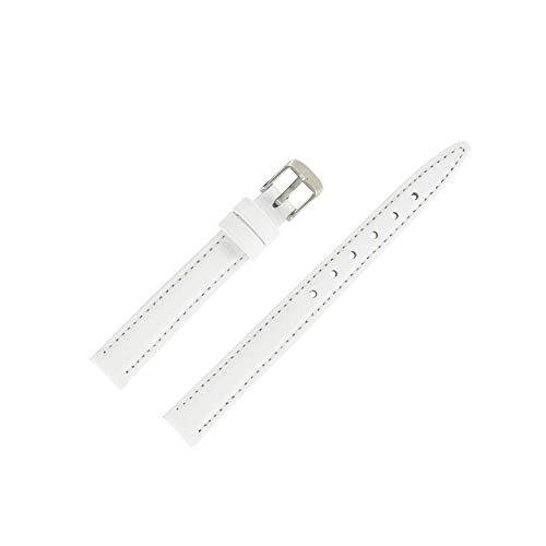 OnWatch - Correa de reloj de 12 mm, color blanco de piel auténtica, fabricación artesanal